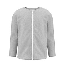 Buy John Lewis Girl Fur Lined Zip Through Sweater, Grey Online at johnlewis.com