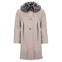 Buy John Lewis Girl Textured Faux Fur Swing Coat, Grey Online at johnlewis.com