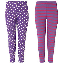 Buy John Lewis Girl Leggings, Pack of 2, Purple Online at johnlewis.com