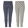 John Lewis Girl Spot and Stripe Leggings, Pack of 2