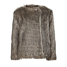 Buy John Lewis Girl Faux Fur Striped Coat, Grey Online at johnlewis.com