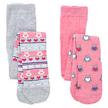 Buy John Lewis Owl Tights, Pack of 2, Pink/Grey Online at johnlewis.com