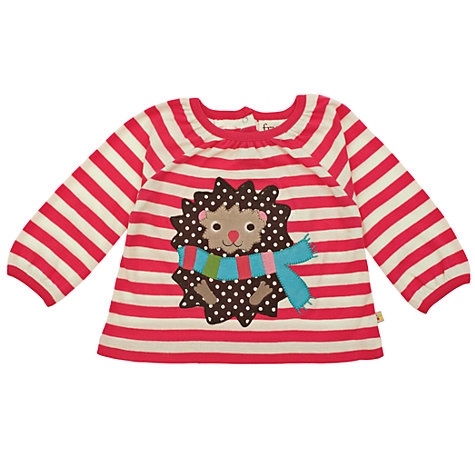 Buy Frugi Baby Organic Cotton Stripe Hedgehog Top, Red/Cream Online at johnlewis.com