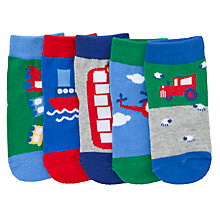 Buy John Lewis Transport Socks, Pack of 5, Blue Online at johnlewis.com