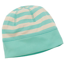Buy Frugi Baby Organic Cotton Striped Hat, Aqua/Cream Online at johnlewis.com