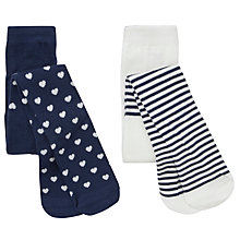 Buy John Lewis Heart/Stripe Tights, Pack of 2, Navy/White Online at johnlewis.com