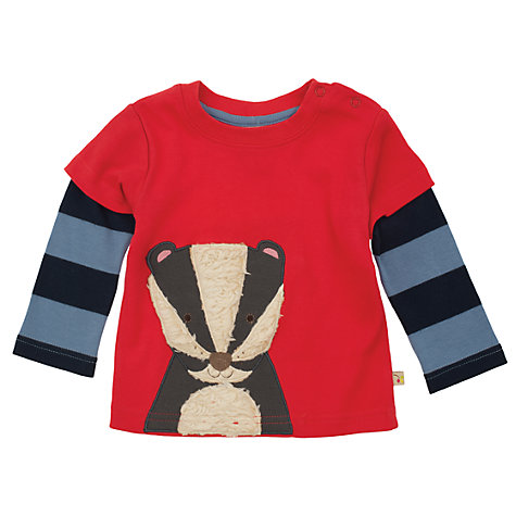 Buy Frugi Baby Organic Cotton Badger Layered Top, Red/Blue Online at johnlewis.com