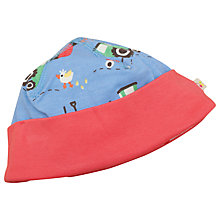 Buy Frugi Baby Organic Cotton Farmyard Hat, Blue/Red Online at johnlewis.com