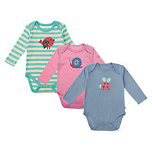 Buy Frugi Baby Organic Cotton Garden Creatures Bodysuits, Pack of 3, Multi Online at johnlewis.com