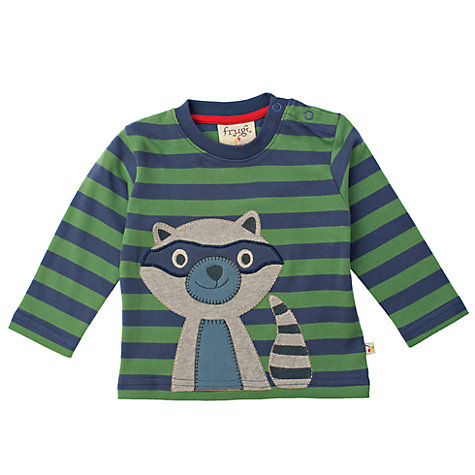 Buy Frugi Baby Racoon Stripe Long Sleeved Top, Green/Blue Online at johnlewis.com