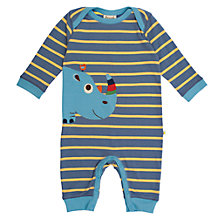 Buy Frugi Baby Organic Cotton Rhino Stripe Sleepsuit, Blue Online at johnlewis.com