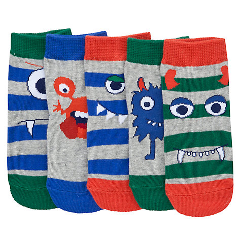 Buy John Lewis Monster Socks, Pack of 5, Blue/Red/Grey Online at johnlewis.com