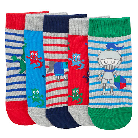 Buy John Lewis Dragon/Stripe Socks, Pack of 5, Multi Online at johnlewis.com
