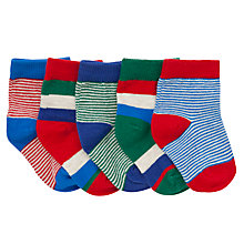 Buy John Lewis Stripe Socks, Pack of 5, Blue/Red Online at johnlewis.com