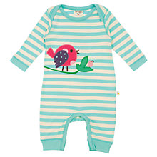 Buy Frugi Baby Organic Cotton Bird Stripe Sleepsuit, Aqua/Cream Online at johnlewis.com