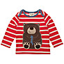 Frugi Baby Organic Cotton Bear Sripe Top, Red