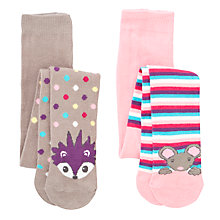 Buy John Lewis Hedgehog/Stripe Tights, Pack of 2, Multi Online at johnlewis.com