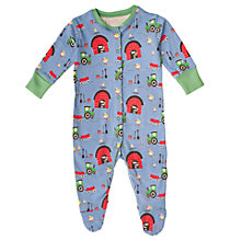 Buy Frugi Baby Organic Cotton Farmyard Sleepsuit, Multi Online at johnlewis.com