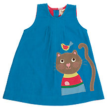 Buy Frugi Baby Organic Cotton Corduroy Cat Dress, Blue Online at johnlewis.com
