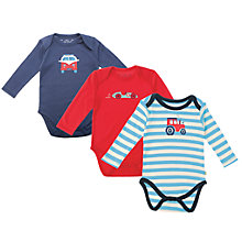 Buy Frugi Baby On the Road Bodysuits, Pack of 3, Blue/Red Online at johnlewis.com