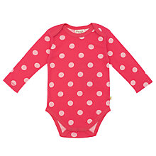 Buy Frugi Baby Organic Cotton Polka Dot Bodysuit, Raspberry Online at johnlewis.com