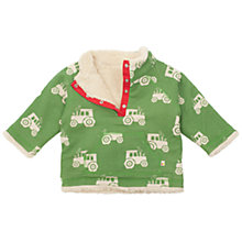 Buy Frugi Baby Reversible Tractor Fleece, Green/Cream Online at johnlewis.com