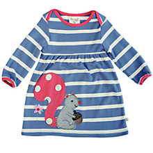 Buy Frugi Baby Organic Cotton Stripe Squirrel Dress, Blue Online at johnlewis.com