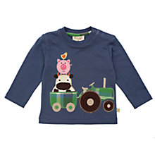 Buy Frugi Baby Organic Cotton Farmyard Tractor Top, Indigo Online at johnlewis.com