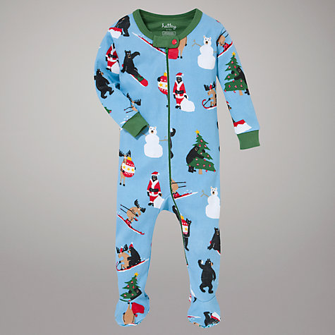 Buy Hatley Christmas Bear and Moose Sleepsuit, Blue Online at johnlewis.com