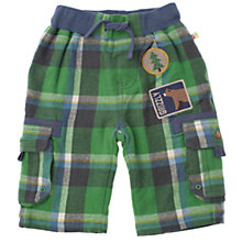 Buy Frugi Baby Organic Cotton Checked Combat Trousers, Green Online at johnlewis.com