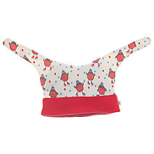 Buy Frugi Organic Cotton Robin Hat, Cream/Red Online at johnlewis.com
