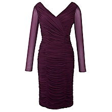 Buy Gina Bacconi Ruched Mesh Dress, Aubergine Online at johnlewis.com