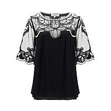 Buy Somerset by Alice Temperley Mesh Blouse, Black/Cream Online at johnlewis.com