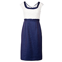 Buy Gina Bacconi Shimmer Shift Dress, Cream/Blue Online at johnlewis.com