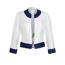 Buy Gina Bacconi Cropped Shimmer Jacket, Cream/Blue Online at johnlewis.com