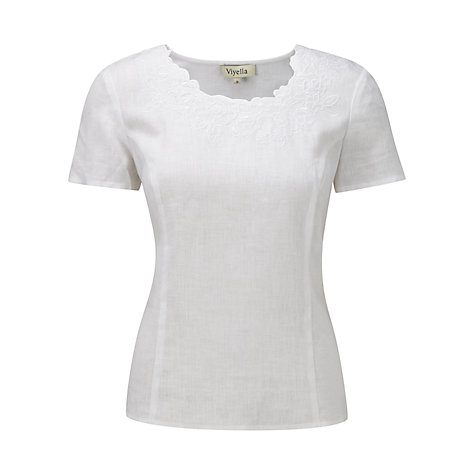 Buy Viyella Floral Embroidered Top,White Online at johnlewis.com