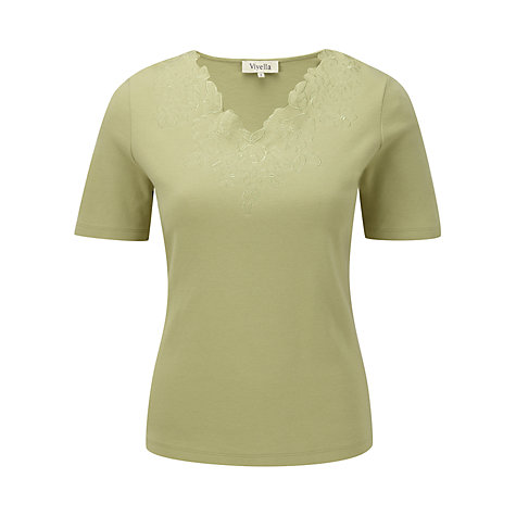 Buy Viyella Embroidered Jersey Top, Sage Online at johnlewis.com