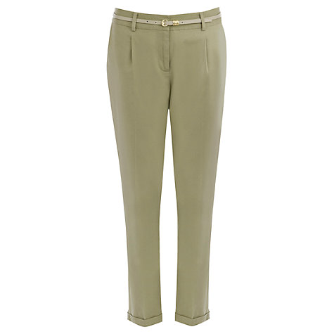 Buy Oasis Stitched Washed Peg Trousers, Khaki Online at johnlewis.com