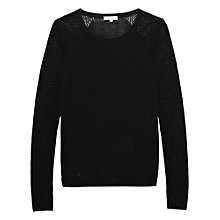 Buy Reiss Mesh Panel Crew Neck Top, Black Online at johnlewis.com