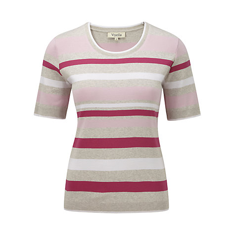 Buy Viyella Stripe Trim T-Shirt, Clay Online at johnlewis.com