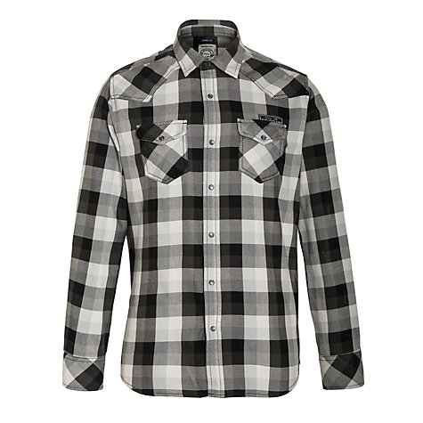 Buy Diesel Men's Long Sleeve Check Shirt, Black Online at johnlewis.com