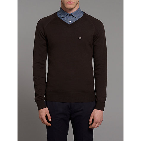 Buy Merc Conrad V-Neck Jumper, Chocolate Online at johnlewis.com