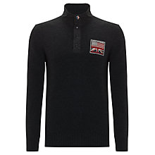 Buy Barbour Steve McQueen™ Collection Flag Button Neck Jumper, Charcoal Online at johnlewis.com