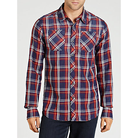 Buy Hilfiger Denim Bryan Long Sleeve Check Shirt, Blue Online at johnlewis.com
