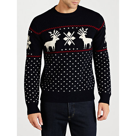 Buy Gant Lambswool Reindeer Crew Neck Jumper, Navy Online at johnlewis.com