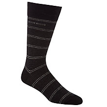 Buy Hugo Boss Striped Socks, Pack Of 2, Black Online at johnlewis.com
