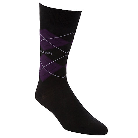 Buy Hugo Boss Argyle Socks, Black Online at johnlewis.com