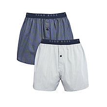 Buy Hugo Boss Cotton Woven Boxers, Pack of 2, Blue Online at johnlewis.com