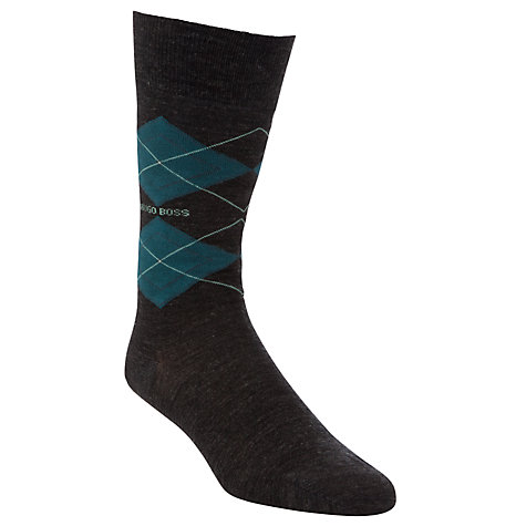 Buy Hugo Boss Cotton Argyle Socks, Grey Online at johnlewis.com