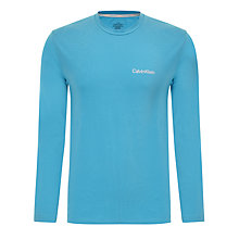 Buy Calvin Klein Plain Long Sleeve T-Shirt, Blue Online at johnlewis.com